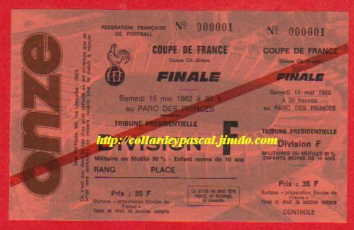 1982 : Paris SG bat AS St Etienne 2 - 2 tab