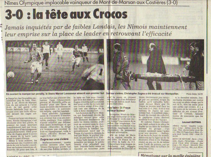 """Nîmes 3 - 0 Stade Montois pas si """"faibles"""" puisque Nîmes jouait la Coupe d'Europe cette saison 97"""