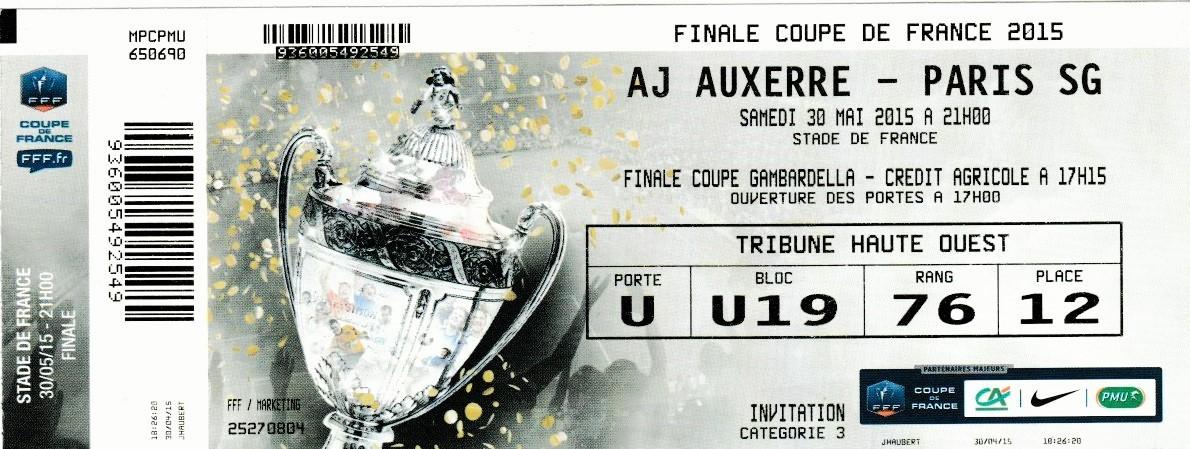 2015 : Paris SG bat AJ Auxerre (L2)  1 - 0