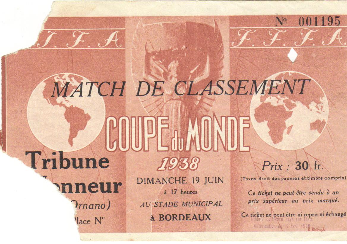 Finale 3/4 Places Brésil - Suède (France 1938)