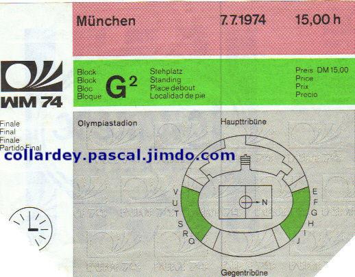 Finale Coupe du Monde 1974 : Allemagne de l'Ouest - Pays Bas (Allemagne)