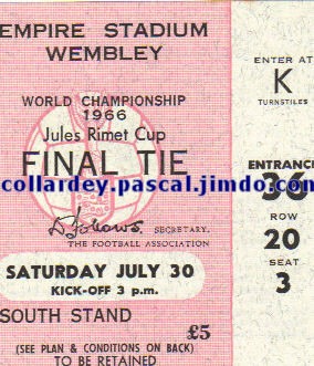 Finale Coupe du Monde 1966 : Angleterre - Allemagne de l'Ouest (Angleterre)