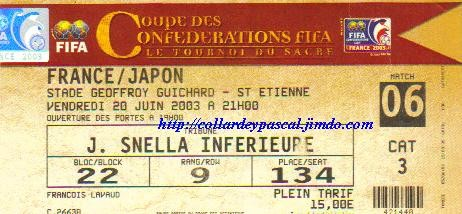 Coupe Confédérations 2003 : France - Japon
