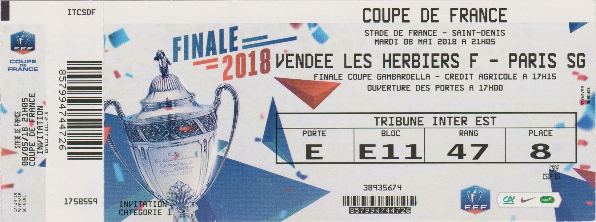 2018 : Paris SG bat Les Herbiers Vendée  2 - 0