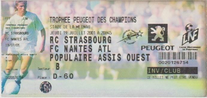 2001 à Strasbourg : FC Nantes bat RC Strasbourg 4 - 1