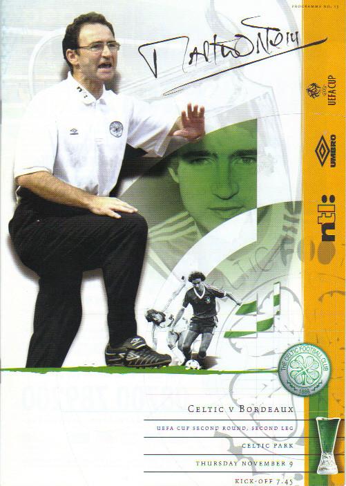 Celtic Glasgow - Girondins Coupe Uefa, pas de programme de match à Bordeaux