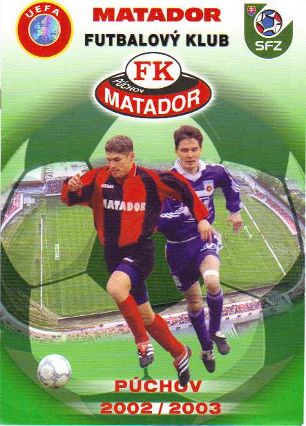 Matador Puchov - Girondins Coupe Uefa, pas de programme de match à Bordeaux