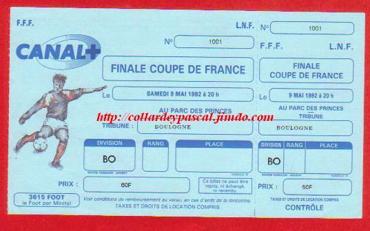 1992 : Rare ticket Finale non disputée Drame de Furiani