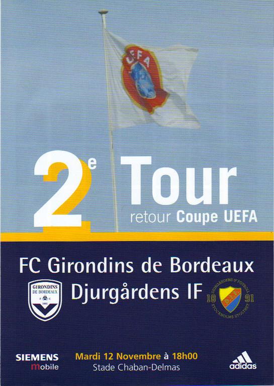 Girondins Coupe - Djuurgardens Coupe Uefa