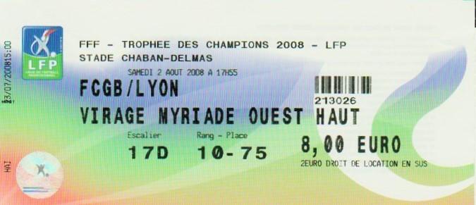 2008 à Bordeaux : Girondins Bordeaux bat Ol. Lyonnais 0 - 0 (5.4 tab)