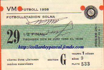 France - Brésil 1/2 Finale (Suéde 1958) Autographe Just Fontaine