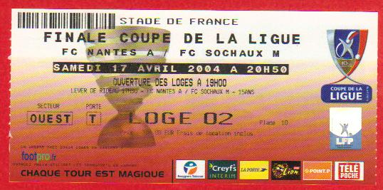 Finale 2004 FC Sochaux M 1 - 1 (5-4  tab) FC Nantes