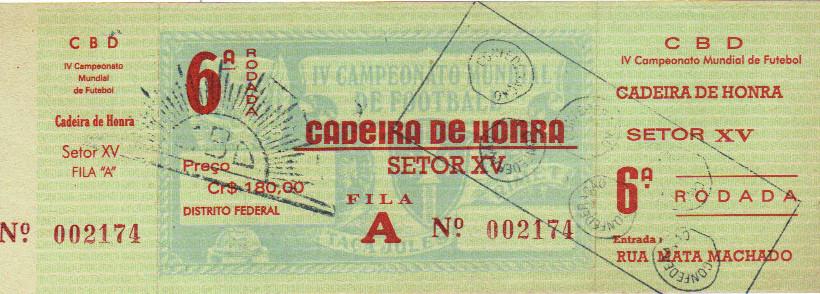 Ticket de Groupe considéré comme la Finale 1950 : Uruguay - Brésil (Brazil)