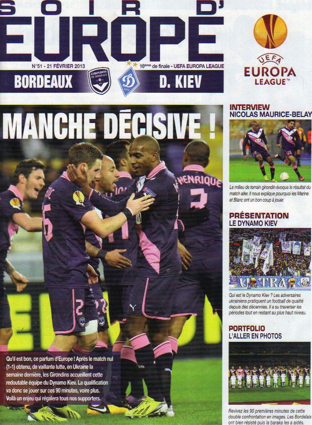 Girondins - D. Kiev Ligue Europa 2012/13