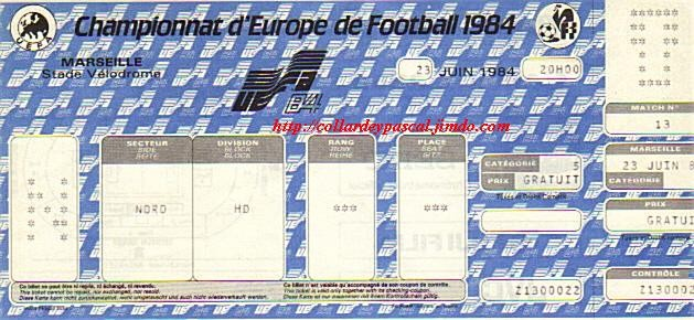 Euro 1984 : 1/2 Fianle France - Portugal