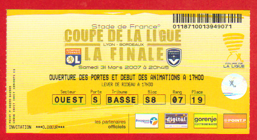 Finale 2007 Girondins Bordeaux 1 - 0 Olympique Lyonnais