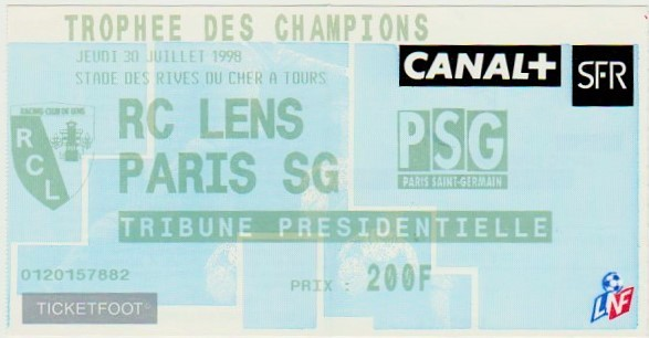 1998 à Tours : Paris SG bat RC Lens 1 - 0