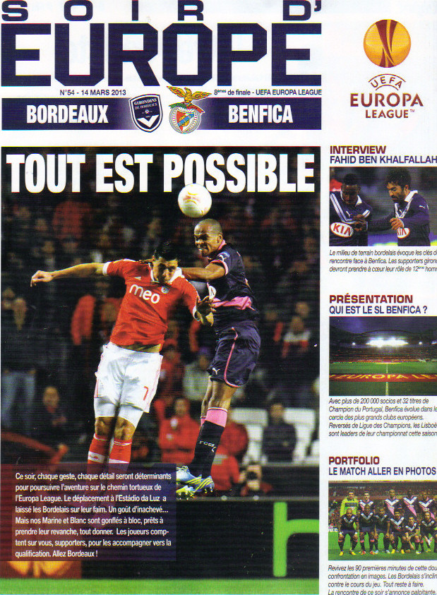 Girondins - SL Benfica Ligue Europa 2012/13