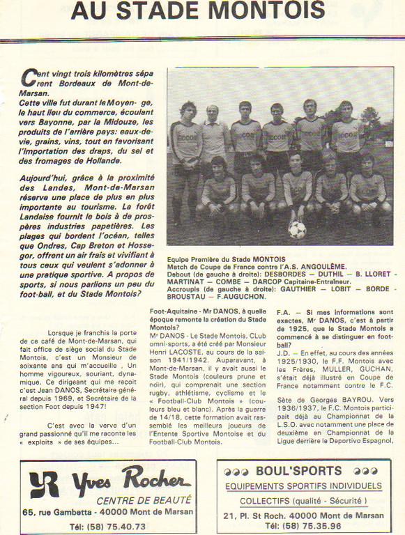Article présentation du Stade Montois 1980