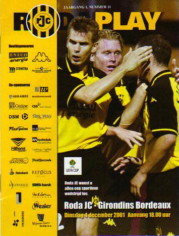 Roda JC - Girondins Coupe Uefa, pas de programme de match à Bordeaux