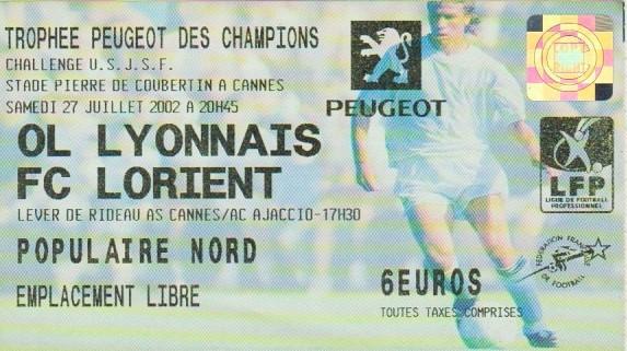 2002 à Cannes : Ol. Lyonnais bat FC Lorient 5 - 1