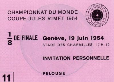 France - Mexique (Suisse 1954) Invitation