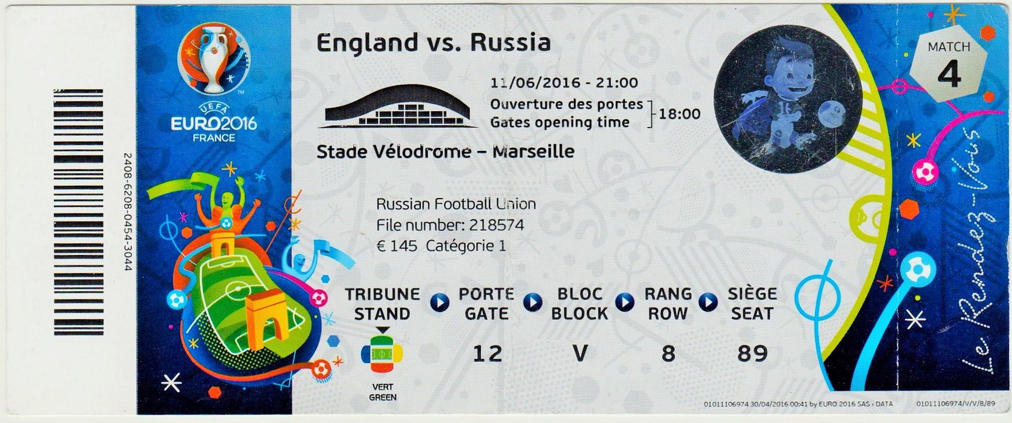 11/06/2016 Marseille :  Angleterre  1 - 1  Russie  > Dier (Ang) -- Berezutski (Rus)  <
