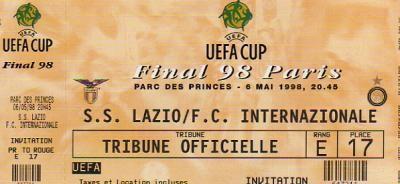 1998 à Paris :  Internazionale Milan - Lazio Rome  3 - 0