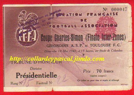 1941   Cette Finale de Zone est considérée comme LA Finale officielle  G. Bordeaux  bat  Toulouse FC  3 - 1