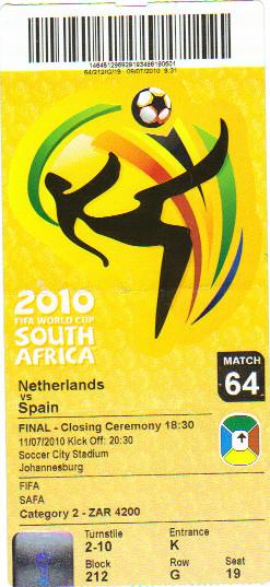 Finale de la Coupe du Monde 2010 Espagne - Pays-Bas