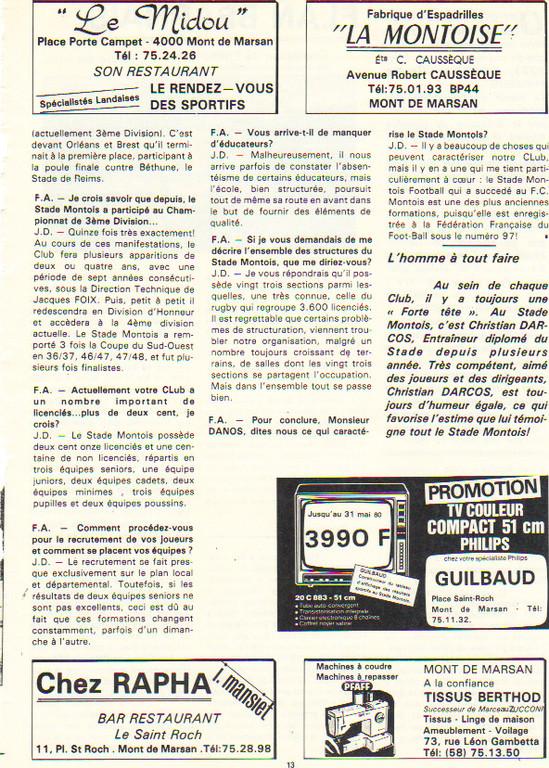 Article présentation du Stade Montois 1980 (C)