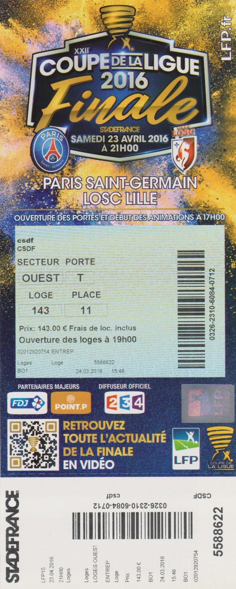 Finale 2016 Paris SG  2 - 1  Lille OSC