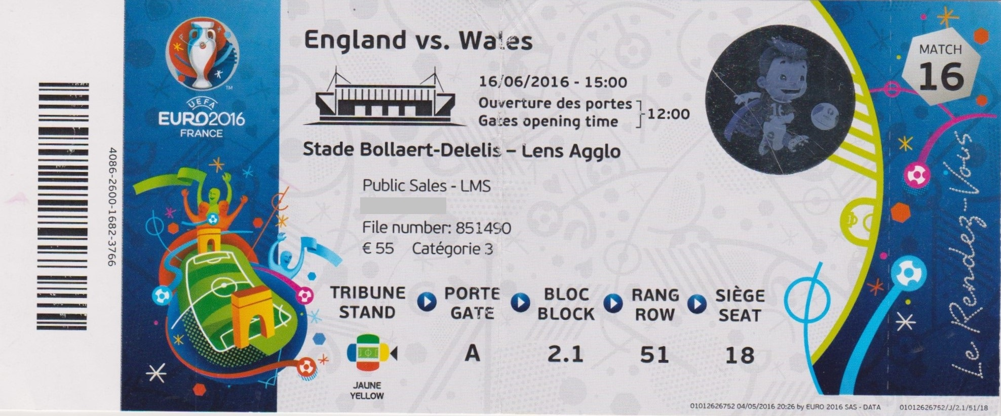16/06/2016  Lens :  Angleterre  2 - 1  Pays de Galles  > Vardy, Sturridge  (Ang) -- Bale (PdG) <