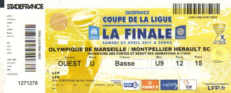 Finale 2011 O Marseille 1 - 0 Montpellier HSC
