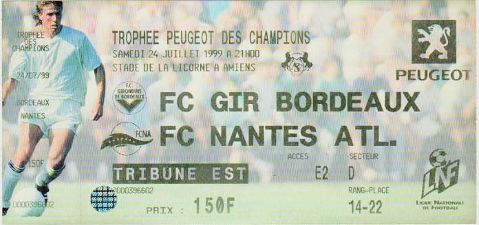 1999 à Amiens : FC Nantes bat Girondins Bordeaux 1 - 0