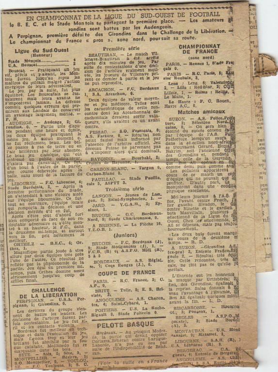 Journal Sud-Ouest Novmbre 1944, le Stade Montois caracole en tête !