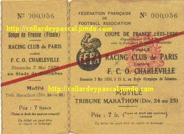 1936 RC Paris bat FCO Charleville 1 - 0