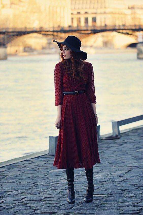 Robe bordeaux esprit vintage - misspandora.fr