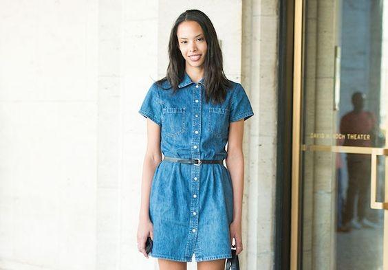 Robe en jean ceinturée - stylistic.fr