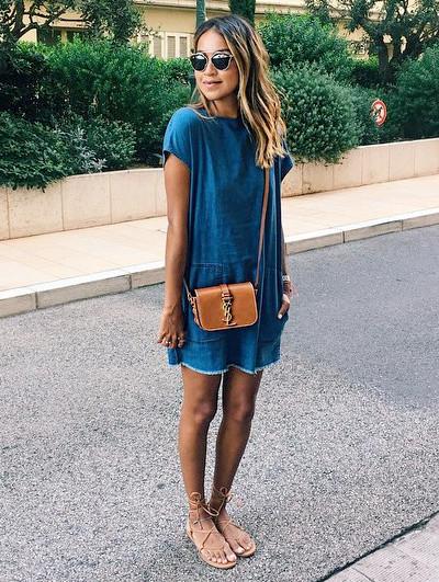Robe en jean, sac camel et sandales lacées - sincerelyjules.com