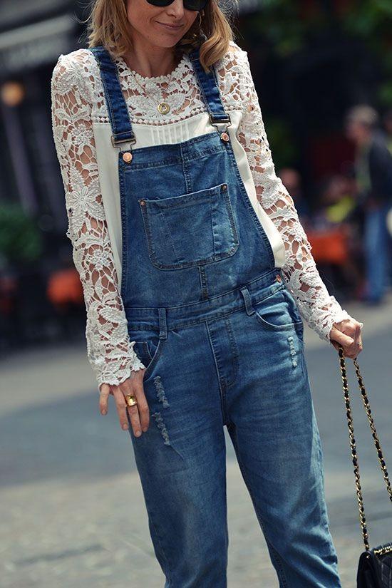 Salopette en jean et guipure - modenmarie.com
