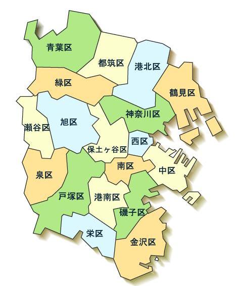 横浜市18区分図