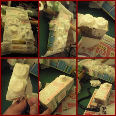 Zaino : Cartone , lattine, tappi di plastica, foam