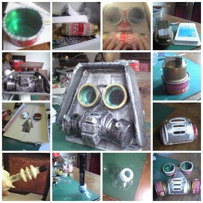 Costruzione della maschera : cartone, lattine, acetato , foam