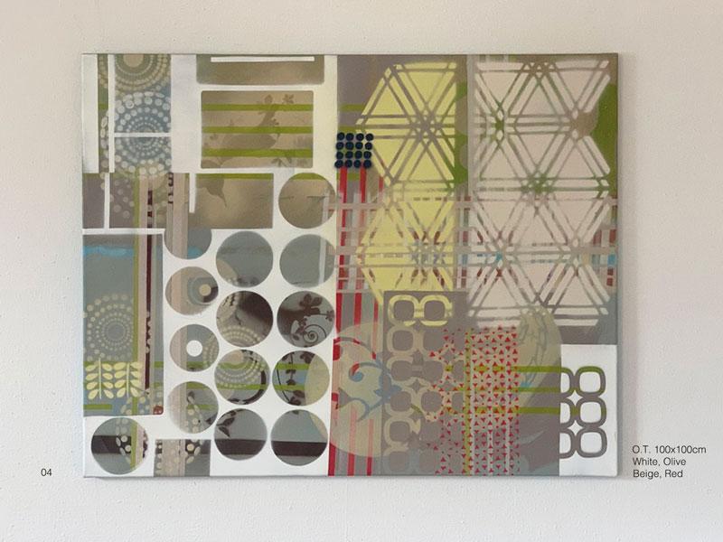 04 - O.T. Branco, oliva, beige, vermelho Acryl, Oil, Spray on coated canvas 80X100cm