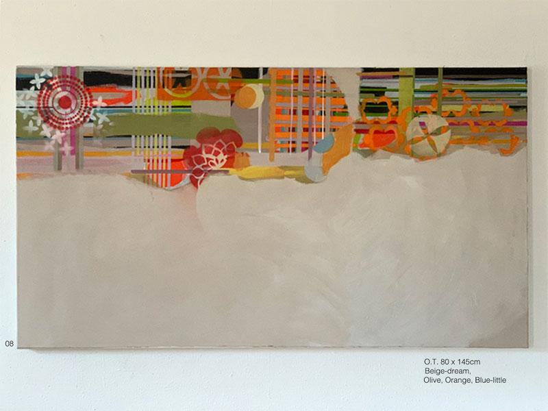08 - O.T. Beige-sono, oliva, laranja, azul-pequeno Acryl, Oil, Spray on coated canvas 80x145cm