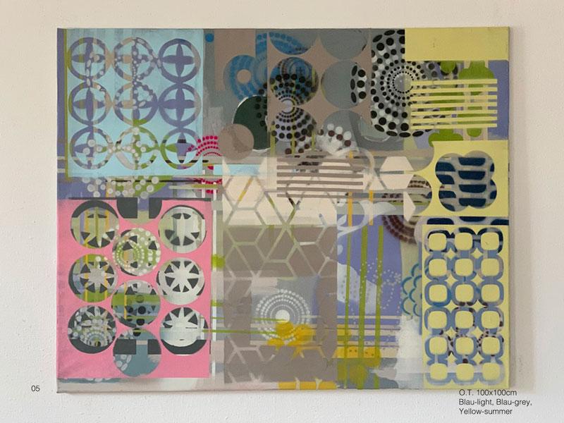 05 - O.T. Azul claro, cinta-azul, amarillo verão Acryl, Oil, Spray on coated canvas 80x100cm
