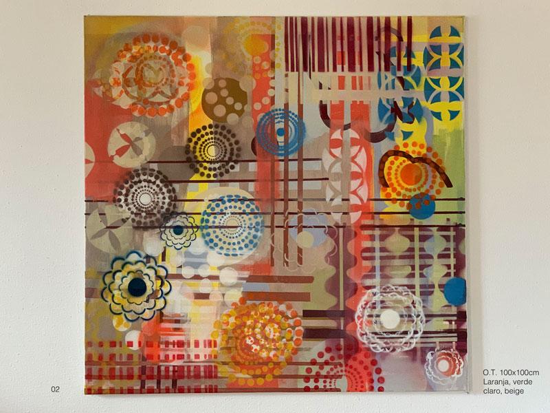 02 - O.T. Laranja, verde claro, marrom, beige, azuis Acryl, Oil, Spray on coated canvas, 100x100cm
