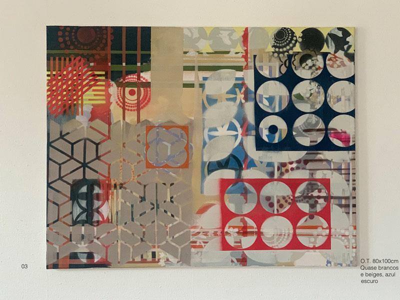 03 - O.T. Quase brancos e beiges, azul escuro Acryl, Oil, Spray on coated canvas 80x100cm
