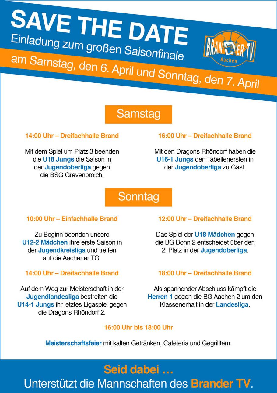 Einladung zum großen Saisonfinale des Brander TV Aachen